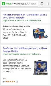 Images dans résultats de recherche mobile